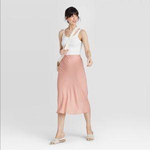 Pink Mid-Rise Satin Slip Skirt LARGE